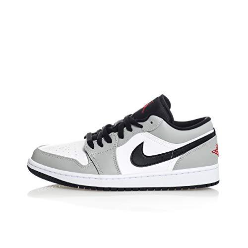 Air Jordan 1 Low, Mehrfarbig - Lt Smoke Grey Gym Red White - Größe: 44 EU