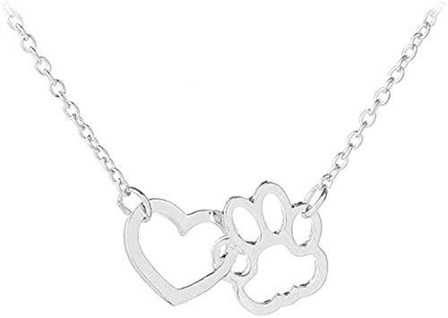 LLJHXZC Collar Hueco Huella De La Pata del Animal Doméstico Collares Lindo Animal Perro Gato Amor Corazón Colgante Collar para Mujeres Niñas Joyería Collar
