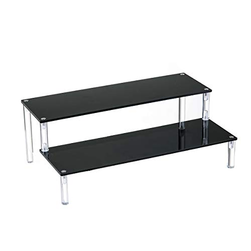 BYCY Acrylic Black 2-Tier Riser Display Shelf for Figures, Desserts Holder, Collections Organizer and Cosmetic Items Shelf (2 Tier 12' X 6.9' X 4.25')