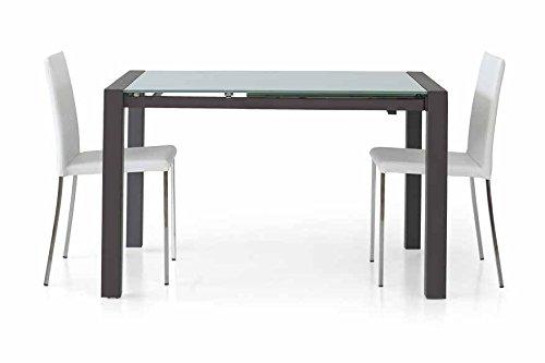 Table rectangulaire verre acier noir avec 1 allonge de 60 cm