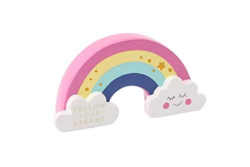 Hucha para niños con diseño de arcoíris y nubes