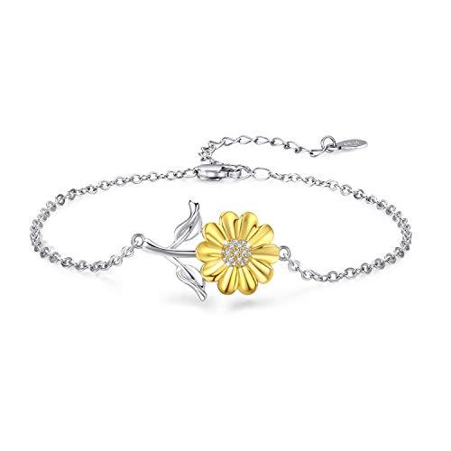 Sun Bracelet 925 Sterling Silver Sunshine Bracelet Gold Sun Jewelry Dainty Sunburst Bracelet for Women Girl (Silver-1)