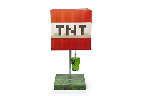 Minecraft TNT Block 14-Inch Desk Lamp with 3D Creeper Puller   LED Lamp