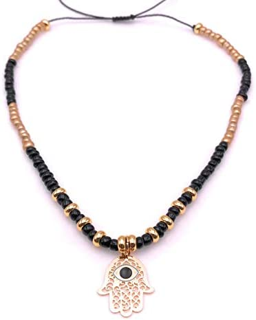 Art Designs by AA Handmade Hamsa Hand Tiny Beads Choker Adjustable Necklace for Women product image