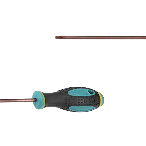 COMOK 100mm Long T10 Torx Point Magnetic Tip Screwdriver Set with Nonslip Handle Grip 2 PCS