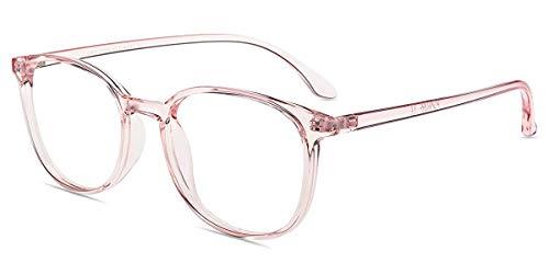 Firmoo Blaulicht Lesebrille Entspiegelt Damen Herren, Eckige Blaulichtfilter Computer Brille gegen Kopfschmerzen, Blendfrei, Kratzfest (1.0x, Pink)