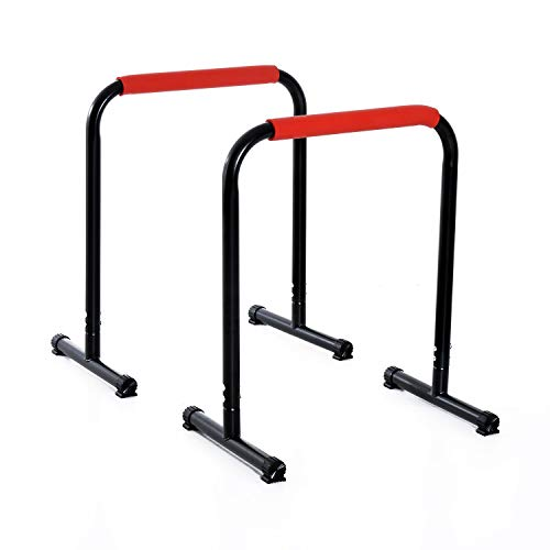 Soozier Set of 2 Dip Bar, Dip Stand Pull Up Push Up Station for Full Body Strength Training Home Gym Black