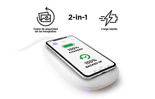 SanDisk iXpand Cargador inalámbrico rápido de 10 W con 128 GB de Capacidad para Copia de Seguridad de fotografías en teléfonos compatibles con Qi