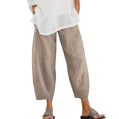 AOZLOVEC Pantalones de harén con estampado vintage Pantalones de mujer Pantalones de pierna ancha con cintura elástica informal Pantalones sueltos L Color6