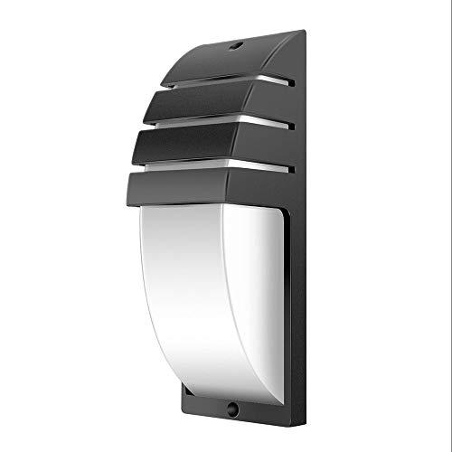 Moderna lámpara de pared LED para interior de 8 W, 3000 K, luz cálida, lámpara de pared de color negro, aluminio y acrílico, resistente al agua, IP44, para dormitorio, pasillo, balcón, terraza
