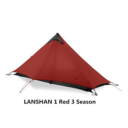 'N/A' Rodless Tent 2 Person 1 Person Outdoor Ultralight Camping Tent 3 Season 4 Season Professional 15D Silnylon Rodless Tent,Red-1P-3Season
