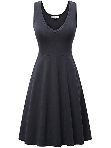 Ribbed Tank Dress,Womens Sleeveless V Neck Summer Dress with Pockets Midi Flared Sun Dress(Black Medium)