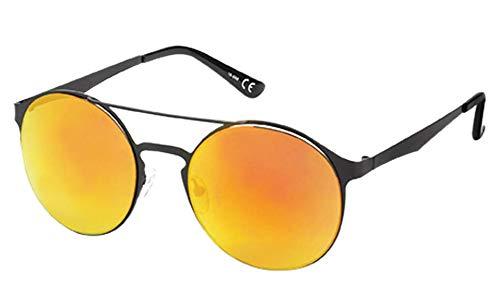 Chic-Net Sonnenbrille Panto Doppelsteg Round 400 UV verspiegelt Metall schwarz golden orange
