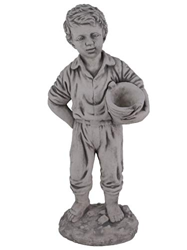 gartendekoparadies.de Massive Steinfigur Statue Junge mit Pflanzgefäß Gartendeko aus Steinguss frostfest