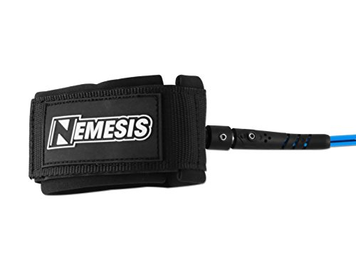 Own the Wave 10' Premium 'Nemesis' Coiled SUP Leg Rope Strap Standup Paddleboard Leash, Maximum Strength Kink-Free… 3 THE COMPANY - Helping everyone to 'get out and do' is the reason Barrel Point Surf exists. Created by a Kiwi surfer and caring Dad who loves helping others get out onto and into the water, we're a Mom & Pop business that began with us building surfboards in our garage. Now we are all about helping make water sports accessible, wherever you are in the world. Say yes to barrels, not barriers. THE PRODUCT - Looking for a leash that won't snag or make you fall off? The 'Nemesis' by Own the Wave offers a strong yet comfortable 10' Coiled SUP leash at a price you can afford. The padded Neoprene cuff makes it comfy while you're wearing and using it. It also features a handy hidden key pocket. MORE ABOUT THE PRODUCT - To ensure durable use, this leash has a super high strength 7.2mm cord with double Stainless Steel swivels, plus a triple wrap rail saver and precision molded fittings. The coiling of the leash also stops any dragging in the water so you don't snag submerged objects. You can easily extend this up to 10-feet when required (even though the leash easily sits on your board and out of the water).
