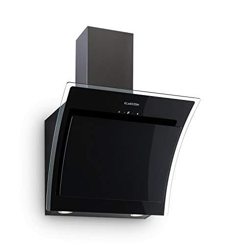 KLARSTEIN Sabia - Hotte aspirante, 600m³/h, 3 vitesses Filtres à graisse, Eclairage LED, Verre de sécurité, Kit de montage complet, Ecran télescopique, 60 cm - Noir