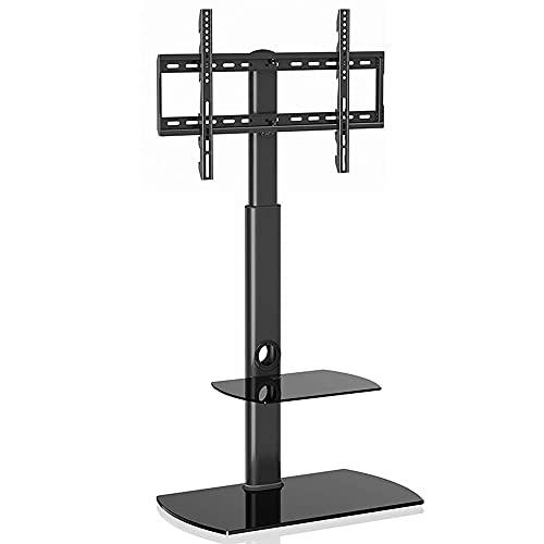 FACAZ Soporte de Suelo para TV con 2 estantes de Vidrio Templado para 37-65 LED OLED LCD Plasma Pantalla Plana Curva Ajustable en Altura, hasta 50 KG