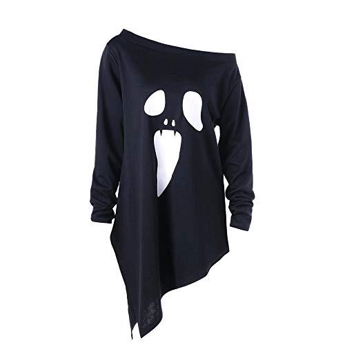 Allence Damen Halloween Weihnachten Kostüm Frauen Halloween Weihnachten Langarm Geist Print Sweatshirt Pullover Tops Damen Lose Casual Asymmetrische Bluse T Shirt Oberteile
