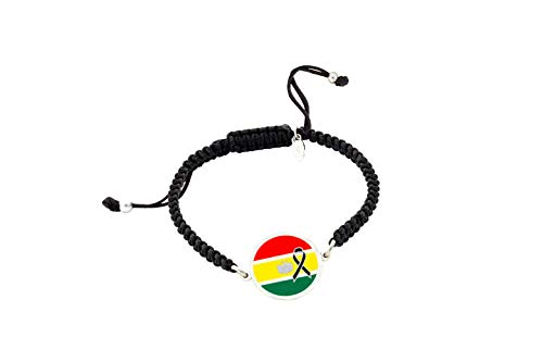 Pulsera Bandera Bolivia Crespón Negro | Pulsera mujer| Pulsera hombre| Pulsera personalizada| Regalo original |Bandera Bolivia Lazo Negro | Yo me quedé en casa (Personalizada, Plata Brillo)