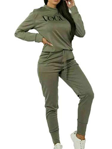 UK Women Vogue Print 2 Piece Co Ord Lounge wear Tracksuit Ladies Long Khaki Vouge 2 PCS Set ML UK Size 12 14