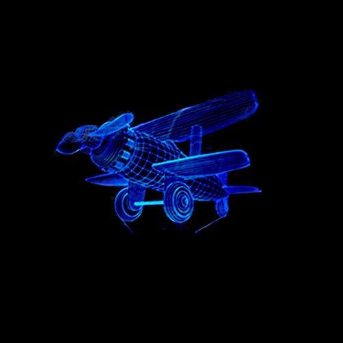Yujzpl 3D-illusielamp Led-nachtlampje, USB-aangedreven 7 kleuren Knipperende aanraakschakelaar Slaapkamer Decoratie Verlichting voor kinderen Kerstcadeau-Vliegtuigen met afstandsbediening