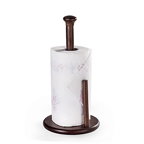HOMENOTE Stand Up Paper Towel Holder, Easily Tear Standing Paper Towel Holder with Weighted Base, Kitchen Towel Holder for Countertop, Wooden
