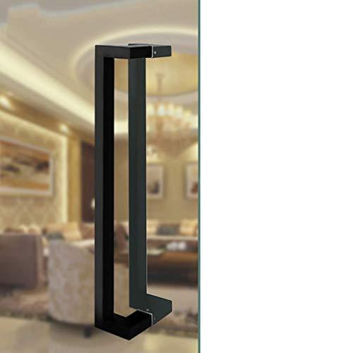 KFDQ Pasamanos de escalera universal para interiores y exteriores, tubo cuadrado de acero inoxidable negro Tirador de puerta comercial push-pull/Manija de puerta de vidrio/Tirador de puerta de gr
