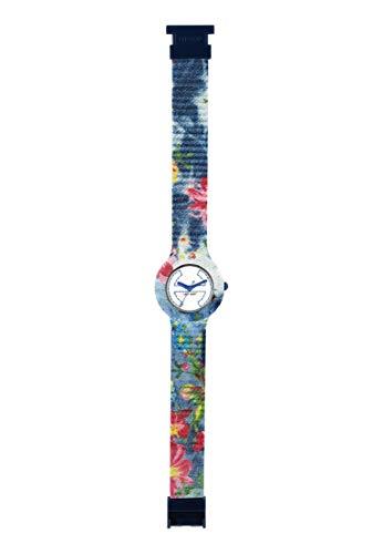 Armbanduhr HIP HOP Frau Jeans quadrante Weiss e uhrarmband in silikon, Stoff blau, Werk TIME JUST - 3H QUARZUHR