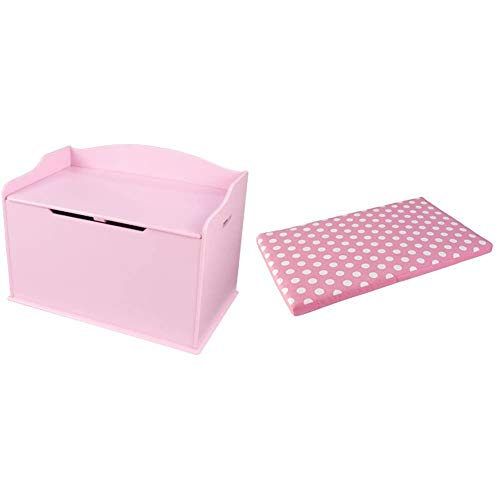 Kidkraft Austin Toy Box - pink & Austin Toy Box Cushion, White/Pink Polka Dots