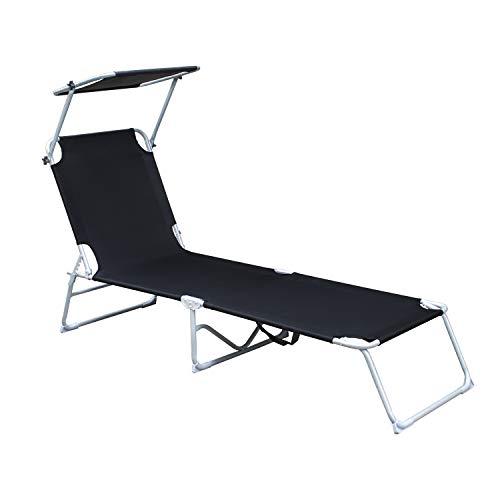 wolketon Sonnenliege, Gartenliege liegestuhl strandliege sonnenliege klappbar Freizeitliege Rückenlehne und Sonnendach verstellbar Freizeitliege, 189x55x27 cm, bis 110kg, Schwarz