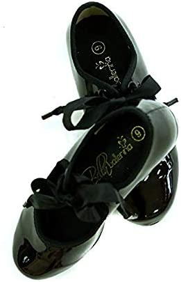 Tap Shoes for Kids and Toddlers. Comfortable Kids Tap Shoe with Nonslip Pads and Ankle Support. True to Size Girls Tap Shoes in Leather Upper Material with Grosgrain Ribbon Tie