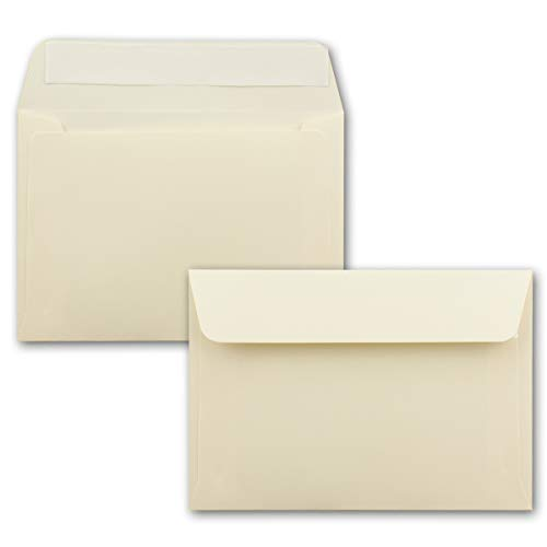 50x Briefumschläge Vanille-Creme DIN C6 Format 11,4 x 16,2 cm - Haftklebung - Kuverts ohne Fenster - Weihnachten, Grußkarten & Einladungen - Für A6 & A4 Papier