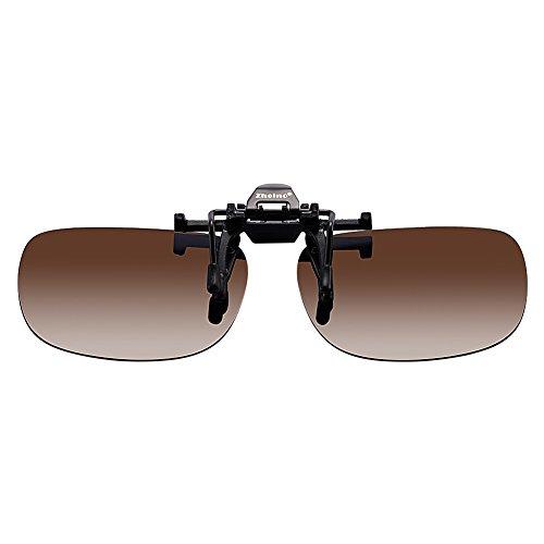 Zheino One-Piece Sonnenbrillen-Clip Polarisierende Flip Up,UV 400 Sonnenbrille Brillen Aufsatz Clipon Clip On's Brille Sonnenbrillen,Sonnenbrillen-Clip für Brillenträger (Dunkelbraun)