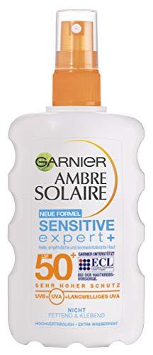 Garnier Ambre Solaire Sensitive expert+ Spray LSF 50+, sehr hoher Sonnenschutz, Sonnencreme für empfindliche Haut, 200 ml