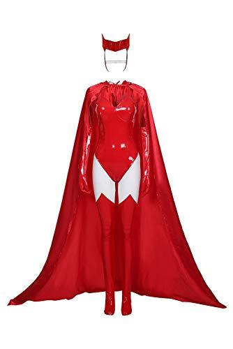 dolass Disfraz de bruja roja para mujer, disfraz de Wanda Maximoff, disfraz de bruja roja