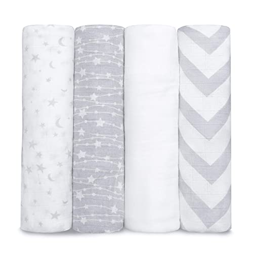 Muslin Swaddle Blankets Neutral Receiving Blanket for Boys and Girls by Comfy Cubs (Grey)