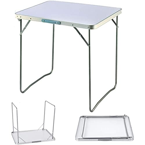 Space Saving Folding Table Picnic Party Foldable Aluminium Camping Table Portable Indoor Outdoor Dining Camp Tables Utility BBQ Unfolding Size 80x60x69cm White
