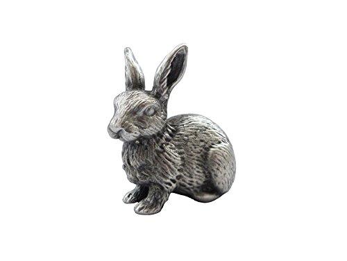 Zinngeschenke Hase sitzend aus Zinn von Hand patiniert, vollplastisch, Setzkastenfigur, Vitrinenfigur, Sammlerstück, Zinnfigur, Zinnfiguren (LxH) 4,2 x 4,2 cmOsterhase