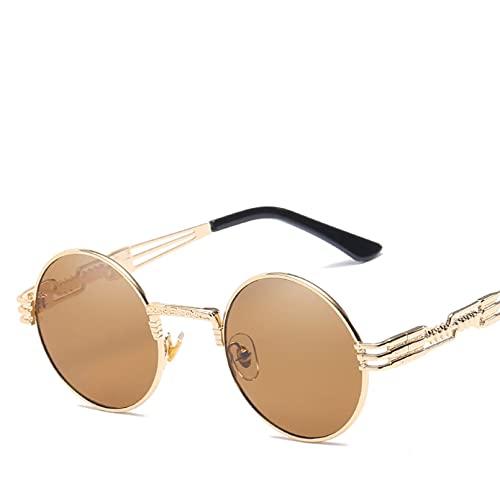 CJJCJJ Gafas de Sol Redondas pequeñas para Mujer Hombre UV400 Gafas de Sol de Metal Gafas de Viaje para Exteriores Accesorios para Coche