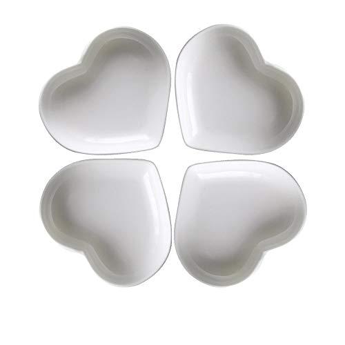 Super süße Herz sharpe Keramik-Soße Dish, Mini Side Gewürzschale, Würze Gerichte/Sushi-Soja-Dipping-Schüssel, Snack-Serviergeschirr, Liebe Porzellan kleine Untertasse Set (4er Set) (8CM)