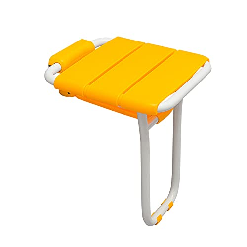 SANJIANG Sedia da Doccia Sgabello Cambio Scarpe A Parete Sedia per Doccia Chiudibile - Sedia Doccia Disabili E Anziani,Portante 150 kg,Yellow