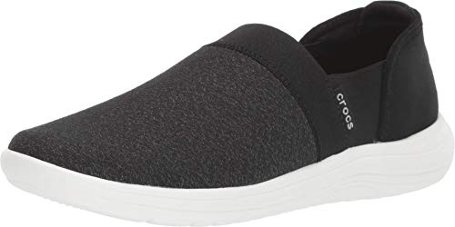 Crocs Women's Reviva Slip On Shoe, Black/White, 5 M US