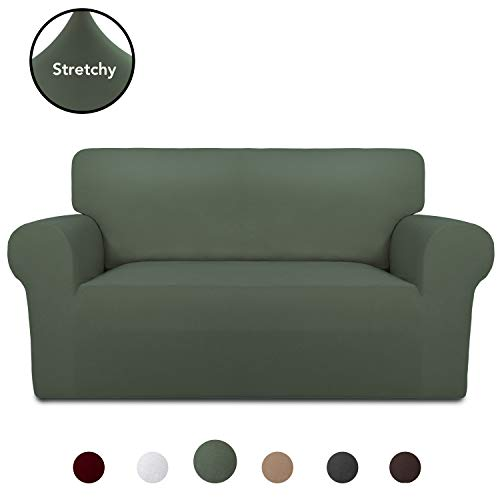 PureFit Super Stretch Chair Sofa Slipcover – Spandex Non Slip Soft Couch Sofa Cover, Washable Furniture Protector with Non Skid Foam and Elastic Bottom for Kids, Pets (Loveseat, Grayish Green)