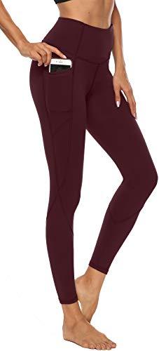 Persit Yoga Leggings Damen, Sport Tights Leggins Yogahose Sporthose für Damen Weinrot-M