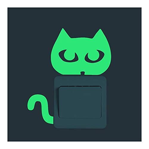ZAOPP -Luz Verde Interruptor Luminoso Etiqueta Decoración De Dibujos Animados Que Brillan Pegatinas De Pared Oscuro Resplandor Engomada De La Decoración, Creativa Linda del Gato (Color : E)