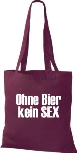 Stoffbeutel OHNE BIER KEIN SEX Baumwolltasche, Beutel, Umhängetasche, Farbe weinrot