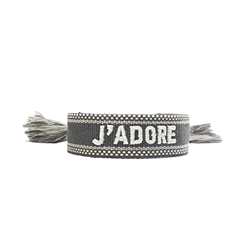 Armband Jadore Stoff Stoffarmband Freundschaftsarmband Gewebtes Armband mit Schriftzug bestickt mit Geschenkbox (Anthrazit-Weiß)