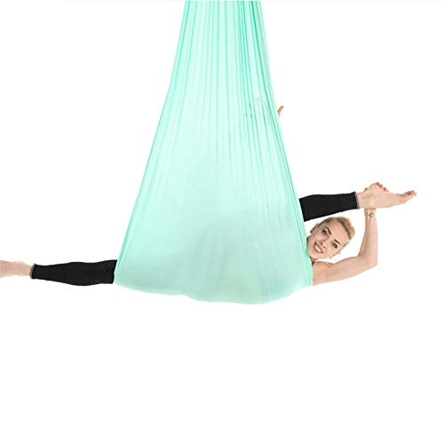 Yoga Flying Hammock Swing Aerial-Yoga Hammock Silk Fabric, for Antigravity Exercise with Adjustable Handles Extension Straps, 4M Long, 2.8M Wide,Green