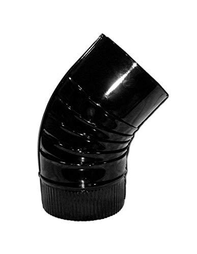 Wolfpack 22011122 Codo Estufa Color Negro Vitrificado de 150 mm. 45°.