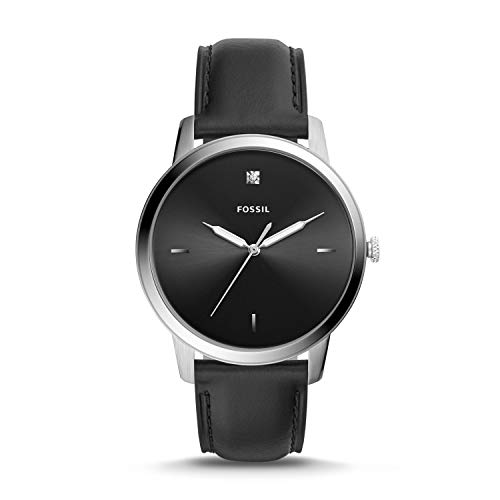 Fossil The Minimalist Carbon Series Three-Hand Black Leather Watch, FS5497